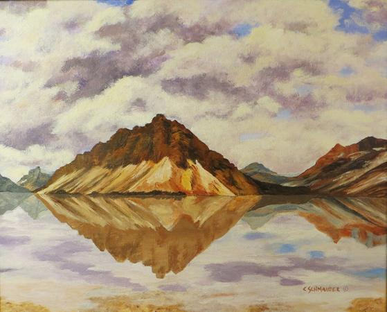 Crowfoot Mountain Reflecting on Bow Lake by Carol Schmauder
