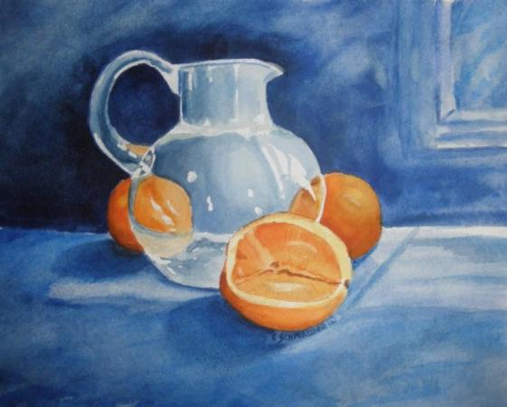 Oranges & Glass Pitcher by Carol Schmauder