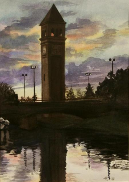 Clocktower Sunset by Carol Schmauder