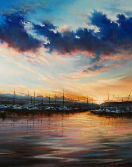 sunset in the harbor by Roman Rocco Burgan