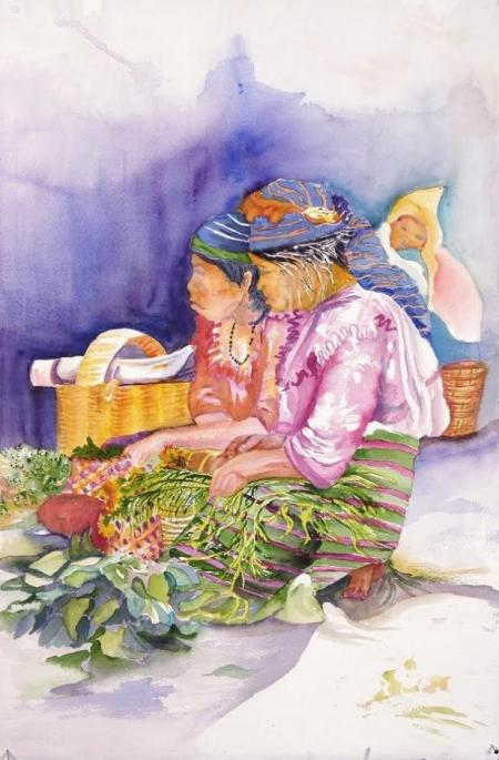 Oxaca Mexican Women With Flowers by Dian Zahner
