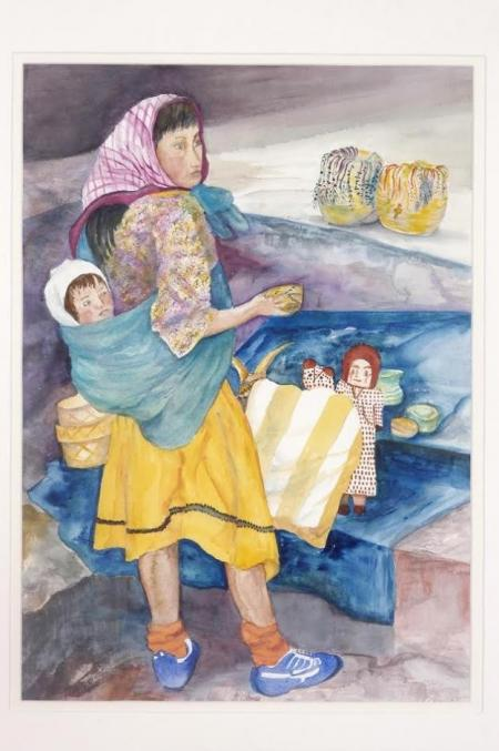 Young Tarahamara Mexican Girl, Her Baby And Her Wares by Dian Zahner on Flootie.com
