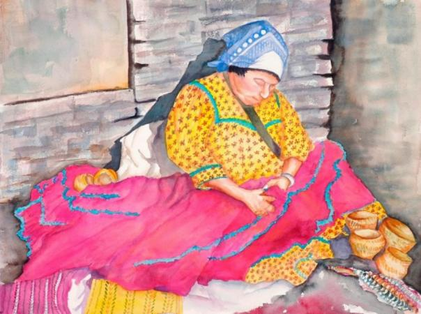 Mexican Woman Sewing by Dian Zahner