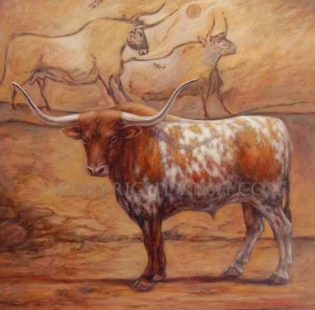 """Origins, Past & Future: IN THE BEGINNING THERE WERE LONGHORNS"" Original Oil Painting by Rush Cole"