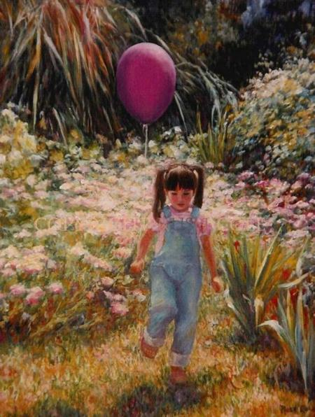 """YOUNG GIRL WITH PURPLE BALLOON"" Fine Art Giclee by Rush Cole"