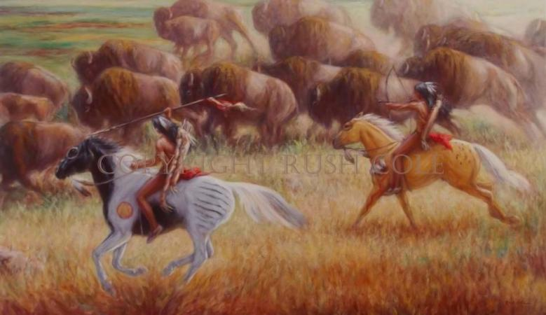 """BUFFALO RUNNERS"" Limited Edition Giclee by Rush Cole"