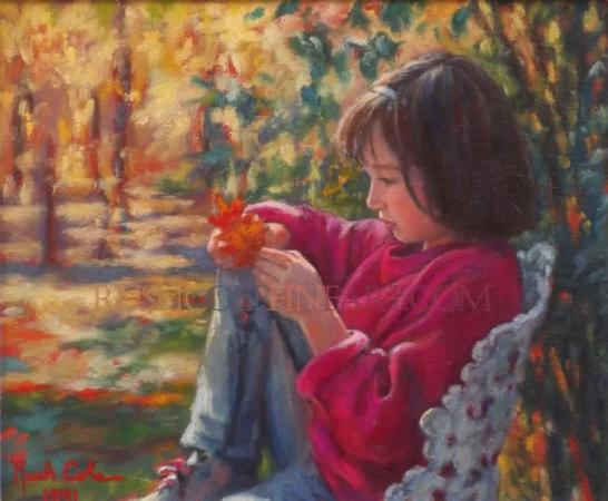 LEAF CATCHER Original Oil Painting by Rush Cole