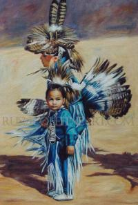 """POW WOW DANCERS IN BLUE"" Fine Art Print by Rush Cole on Flootie.com"